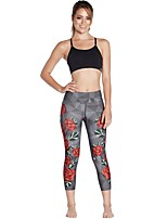 cheap -Women's Basic Chino Comfort Daily Gym Leggings Pants Plants Floral Calf-Length Patchwork Print Light gray