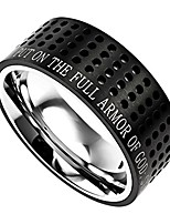 cheap -black stainless steel bible verse ring, ephesians 6:11 armor of god, modern style (13)