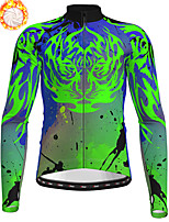cheap -21Grams Men's Long Sleeve Cycling Jersey Winter Fleece Polyester Yellow Blue Green Camo / Camouflage Animal Bike Jersey Top Mountain Bike MTB Road Bike Cycling Fleece Lining Breathable Warm Sports
