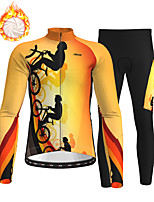 cheap -21Grams Men's Long Sleeve Cycling Jersey with Tights Winter Fleece Polyester Black / Yellow Bike Clothing Suit Thermal Warm Fleece Lining Breathable 3D Pad Warm Sports Printed Mountain Bike MTB Road