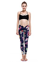 cheap -Women's Basic Casual Comfort Daily Gym Leggings Pants Tropical Ankle-Length Patchwork Print Black