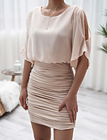 cheap -Women's Chiffon Dress Short Mini Dress - Half Sleeve Solid Color Ruched Patchwork Spring Fall Elegant Casual Chiffon Slim 2020 Khaki S M L XL