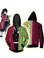 cheap -Inspired by Demon Slayer Tomioka Giyuu Cosplay Costume Hoodie Polyester / Cotton Blend 3D Zipper Printing Hoodie For Men's / Women's