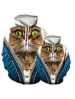 cheap -Family Look Active Cat Graphic Optical Illusion Animal Print Long Sleeve Regular Hoodie & Sweatshirt Navy Blue