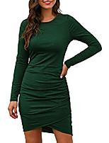 cheap -women long sleeve bodycon wrap front elegant ruched mini dresses ladies casual work short dress dark green size s.