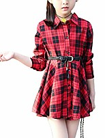 cheap -kids girls' casual check plaid dress a line collar neck button down shirt dress red tag 130 (6-7 years)
