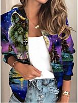 cheap -Women's Print Patchwork Streetwear Spring &  Fall Jacket Regular Sports Long Sleeve Rayon Coat Tops Purple