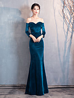 cheap -Mermaid / Trumpet Vintage Sexy Wedding Guest Prom Dress Sweetheart Neckline Long Sleeve Floor Length Velvet with Sleek 2020