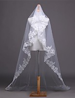 cheap -One-tier Lace Applique Edge / Elegant & Luxurious Wedding Veil Chapel Veils with Appliques 118.11 in (300cm) Lace / Tulle