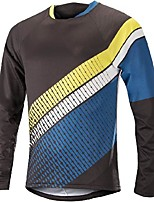 cheap -21Grams Men's Long Sleeve Downhill Jersey Spandex Red Blue Grey Bike Jersey Top Mountain Bike MTB Road Bike Cycling UV Resistant Quick Dry Sports Clothing Apparel / Athletic