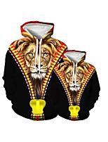 cheap -Family Look Active Lion Graphic Optical Illusion Animal Print Long Sleeve Regular Hoodie & Sweatshirt Black