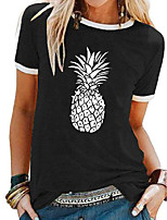 cheap -Women's T shirt Fruit Patchwork Print Round Neck Tops Basic Basic Top Black Blue Purple