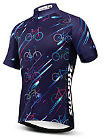 cheap -21Grams Men's Short Sleeve Cycling Jersey Dark Navy Bike Jersey Mountain Bike MTB Road Bike Cycling Breathable Sports Clothing Apparel / Athletic