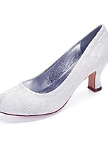 cheap -Women's Wedding Shoes Cuban Heel Round Toe Vintage Classic Wedding Party & Evening Lace Solid Colored White Ivory