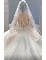 cheap -One-tier Luxury Wedding Veil Cathedral Veils with Solid Tulle
