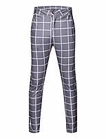 cheap -houshelp men's stretch dress pants slim fit skinny suit pants slim fit dress pant stripe plaid casual drawstring pants