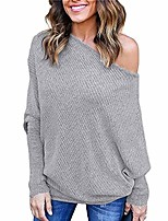 cheap -womens off shoulder sweater batwing sleeve ribbed knit loose pullovers sweater jumper sweatershirt gray