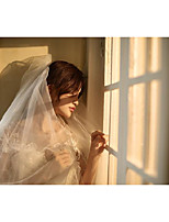 cheap -One-tier Cute Wedding Veil Cathedral Veils with Embroidery 94.49 in (240cm) Tulle