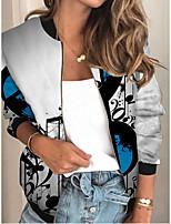 cheap -Women's Print Patchwork Streetwear Spring &  Fall Jacket Regular Sports Long Sleeve Rayon Coat Tops Gray