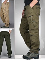 cheap -Men's Hiking Cargo Pants Solid Color Summer Outdoor Breathable Quick Dry Ultra Light (UL) Multi-Pocket Cotton Bottoms Green / Yellow Black Army Green Grey Khaki Hunting Fishing Climbing M L XL XXL