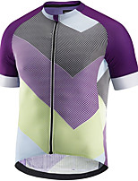 cheap -21Grams Men's Short Sleeve Cycling Jersey Purple Patchwork Bike Jersey Mountain Bike MTB Road Bike Cycling Breathable Sports Clothing Apparel / Athletic
