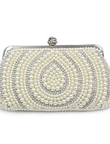 cheap -Women's Bags Polyester Alloy Evening Bag Pearls Crystals Pearl Rhinestone Wedding Party Wedding Bags Handbags Beige