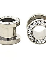 cheap -surgical steel 316l with clear cz stones screw fit gauges/plugs/tunnels nickle free (1 pair) different 12g (2mm)