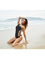 cheap -Women's Fashion Sexy One Piece Swimsuit Solid Color Lace up Cut Out Padded Normal Swimwear Bathing Suits Black