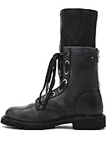 cheap -Women's Boots Chunky Heel Round Toe Booties Ankle Boots Casual Daily Walking Shoes PU Solid Colored Black / Booties / Ankle Boots
