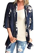 cheap -Women's Blouse / Shirt Florals Floral Casual Spring Cloak / Capes Regular Dailywear 3/4 Length Sleeve Cotton Coat Tops Navy Blue