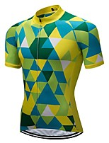 cheap -21Grams Men's Short Sleeve Cycling Jersey Green Bike Jersey Mountain Bike MTB Road Bike Cycling Breathable Sports Clothing Apparel / Athletic