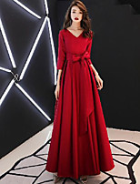 cheap -A-Line Minimalist Vintage Wedding Guest Prom Dress V Neck 3/4 Length Sleeve Floor Length Satin with Bow(s) Pleats 2020