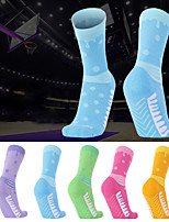 cheap -Men's Women's Hiking Socks 1 Pair Winter Outdoor Breathable Warm Soft Stretchy Socks Patchwork POLY Chinlon Purple Yellow Blue for Fishing Climbing Camping / Hiking / Caving / Cotton