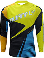 cheap -21Grams Men's Long Sleeve Downhill Jersey Spandex Yellow Bike Jersey Top Mountain Bike MTB Road Bike Cycling UV Resistant Quick Dry Sports Clothing Apparel / Athletic