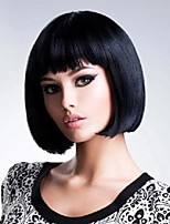 cheap -10 inch short synthetic straight bob wig for women high temperature fibre daily available natural black cosplay wig
