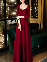 cheap -A-Line Elegant Vintage Engagement Formal Evening Dress Scoop Neck 3/4 Length Sleeve Floor Length Satin with Bow(s) Pleats 2020