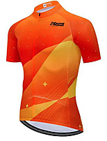 cheap -21Grams Men's Short Sleeve Cycling Jersey Orange Bike Jersey Top Mountain Bike MTB Road Bike Cycling UV Resistant Quick Dry Sports Clothing Apparel / Athletic