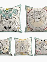 cheap -tarot divination cushion cover 5pc linen soft decorative square throw pillow cover cushion case pillowcase for sofa bedroom 45 x 45 cm (18 x 18 inch) superior quality machine washable