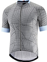 cheap -21Grams Men's Short Sleeve Cycling Jersey Grey Bike Jersey Mountain Bike MTB Road Bike Cycling Breathable Sports Clothing Apparel / Athletic