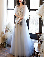cheap -A-Line Elegant Floral Engagement Prom Dress Jewel Neck Half Sleeve Floor Length Tulle with Pleats Appliques 2020