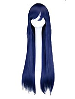 cheap -32 inch long straight cosplay navy mixed blue 80 cm synthetic hair wigs
