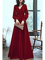 cheap -A-Line Minimalist Elegant Engagement Formal Evening Dress V Neck Long Sleeve Floor Length Velvet with Sleek Ruffles 2020