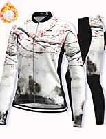 cheap -21Grams Women's Long Sleeve Cycling Jersey with Tights Winter Fleece White Floral Botanical Bike Fleece Lining Breathable Warm Sports Graphic Mountain Bike MTB Road Bike Cycling Clothing Apparel