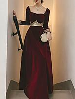 cheap -A-Line Elegant Vintage Wedding Guest Formal Evening Dress Scoop Neck Long Sleeve Floor Length Velvet with Appliques 2020