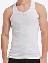 cheap -Men's Tank Top non-printing Solid Color Sleeveless Causal Tops Round Neck White Black