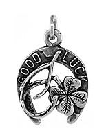 cheap -irish lucky charm pendant horseshoe clover wishbone antiqued finish 3/4 inch