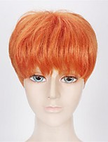cheap -Cosplay Costume Wig Natural Straight With Bangs Wig Short Orange Synthetic Hair Men's Cosplay Natural Adorable Orange