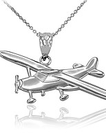 """cheap -polished silver airplane aircraft pendant necklace, 22"""""""