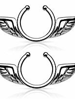 cheap -angel wings non-pierce no pierce fake clip on nipple ring - sold as a pair (silver tone)