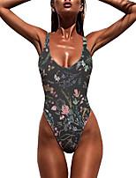 cheap -Women's New Sexy Monokini Swimsuit Floral 3D Print Bodysuit Normal Strap Swimwear Bathing Suits Brown / One Piece